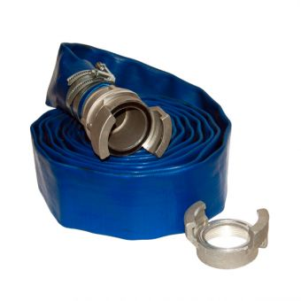 "3"" discharge kit for PE-A3: fire department fitting + 5 m of flat PVC Ø 80 hose + clamp"